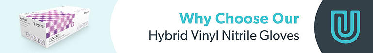 Why choose our hybrid vinyl nitrile gloves banner.