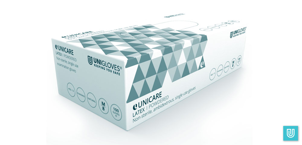 Unigloves Unicare Powdered Latex Gloves Box.