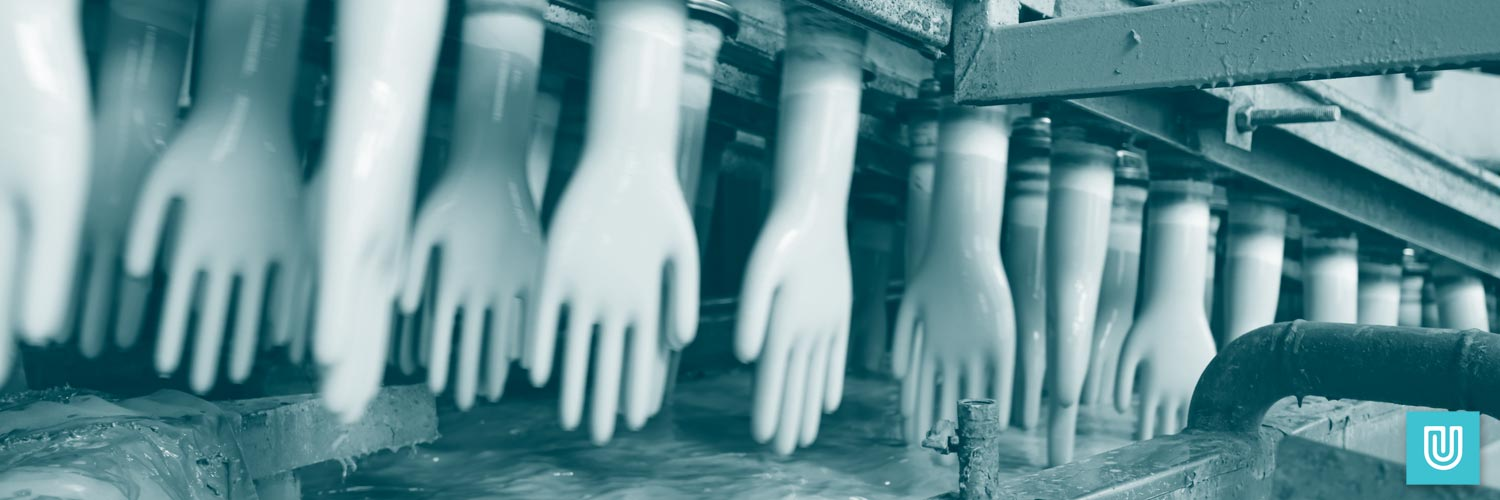 Latex free gloves being manufactured. Unigloves are the leading UK manufacturer of disposable gloves.